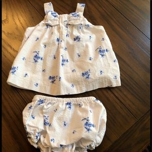 Janie and Jack romper with panties. 6-12mo.